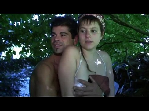 Forest threesome with Papy fucking doll