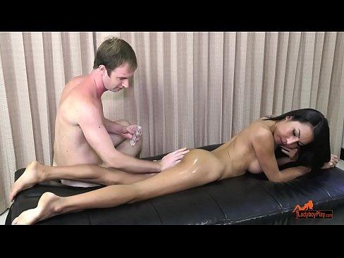Kinky trans beauty stroking her huge cock