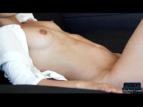 Petite Russian MILF model Sofi Ka solo jeans striptease and looking fine