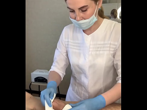 The man cums powerfully right on the depilation procedure. How do you think I removed his sperm?