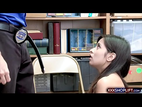 This latina is a long time employee accused of swapping prices on merchandise and the officer offered to not tell management for a free fuck