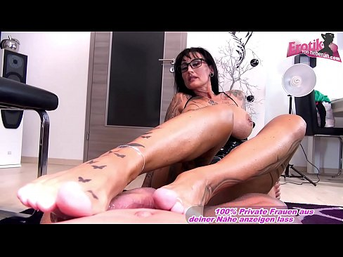 german femdom big tits tattoo amateur milf masturbate cock with feet until orgasm