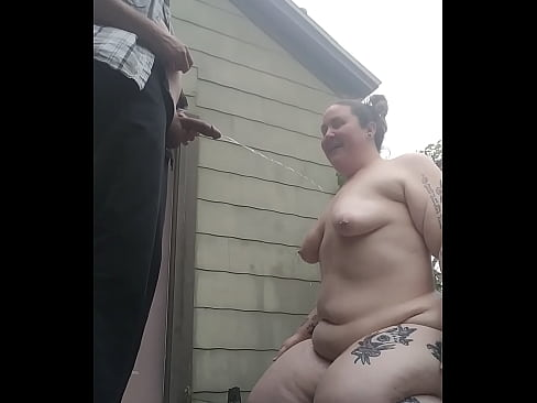 outdoor fat tattooed bbw first time getting peed on by husband blow job