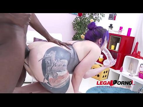 Big Butt Slut Proxy Page oiled up & DAP'ed by 3 Black Bulls