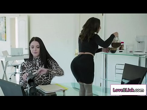 Lesbian secretary rides huge strap on