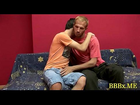 Homosexual dudes in bareback act