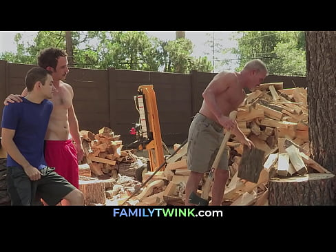 Chopping Son Ass with Dad's and Uncle's Axes | FAMILYTWINK.com
