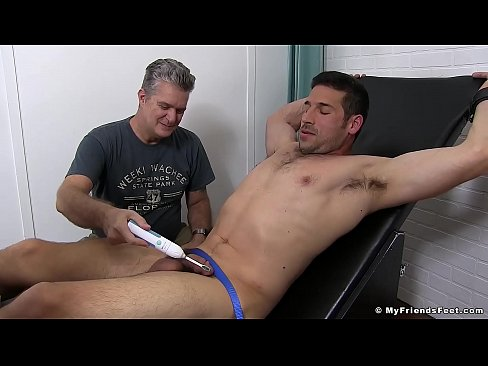 Beefy stud receives full body tickling from two perverts