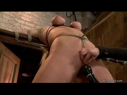 Blonde in hogtie spanked and toyed