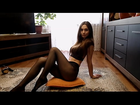 Sexy girl in beautiful pantyhose without panties beautiful legs