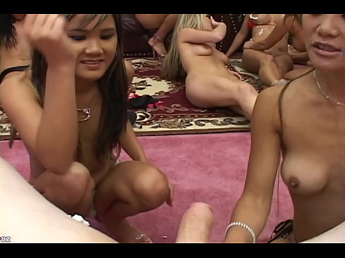 Ein Schwanz, 14 geile Frauen, die den Schwanz lutschen, geiler XXL Gangbang mit einer Horde an Frauen