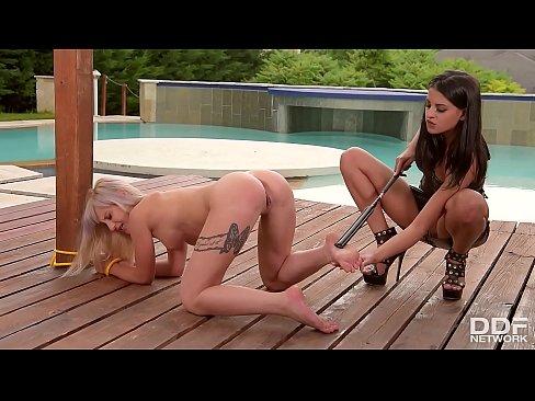 Urban dominatrix Coco De Mal spanks & fucks blonde subby Helena Valentine