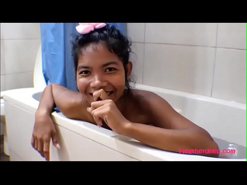 Tiny Thai Teen Heather Deep gives deepthroat and get asshole anal broken in shower with anal creampi