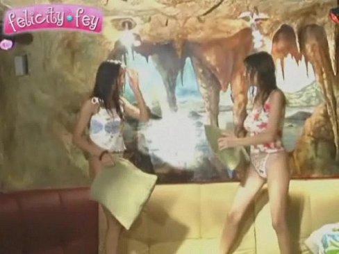 Teens Felicity Fey and Kamilla being cute in a sauna