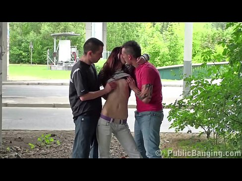 Young skinny teen girl public street sex gang bang threesome with 2 guys