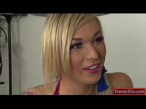 Busty tranny cheerleader Aubrey Kate sucks cock and is analed