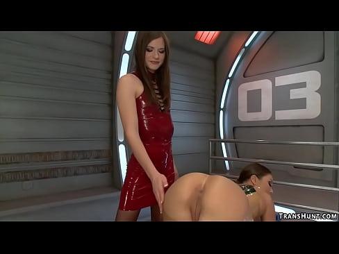 Bound Asian beauty fucked by TS