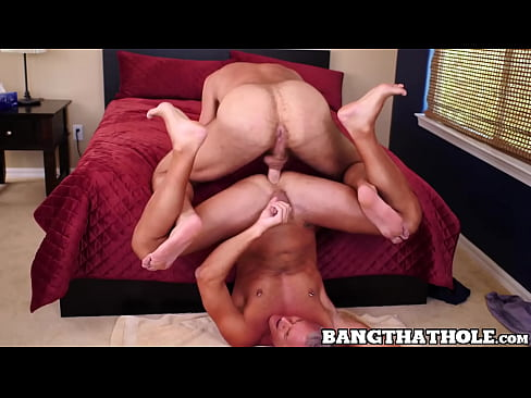 Attractive gay dudes have a steamy fuck session in bedroom