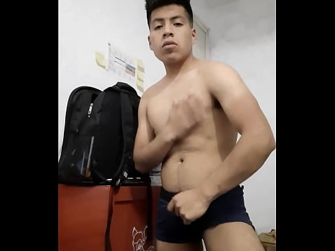Boy gets horny and breaks his boxer to wanking