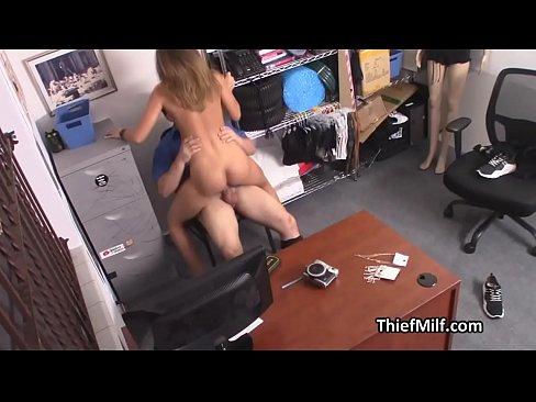 Officer enjoying MILFs tight pussy at his office