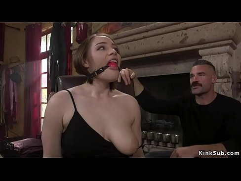 Natural busty hostage in rope bondage