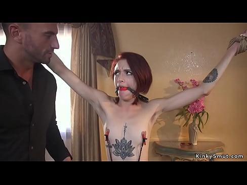 Skinny redhead anal banged by huge dick