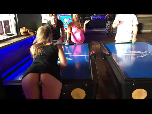 Teen Plays Air hockey with her ass out in my face
