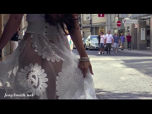 Funk City - Jeny Smith walks in public in transparent dress without panties