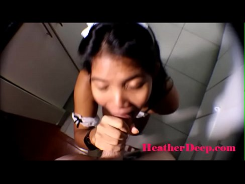 19 week pregnant thai teen heather deep in maid outfits gives deepthroat and creamthroat in the kitchen