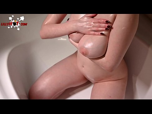 Babe Play Big Boobs and Oil Massage - Closeup