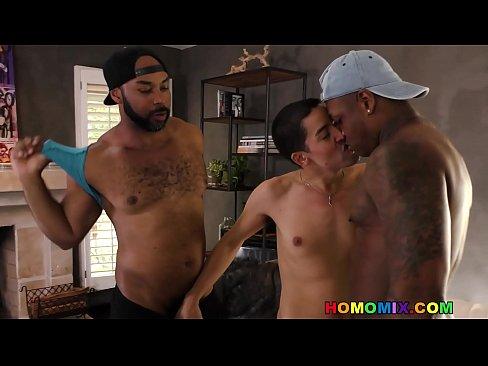 Interracial gay double anal fuck