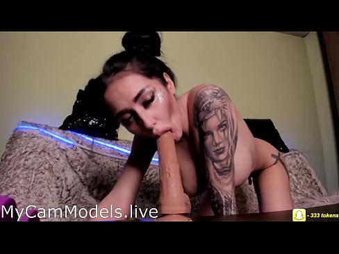 Hot Teen Slut Deepthroats Huge Dildo And Orgasms On Webcam