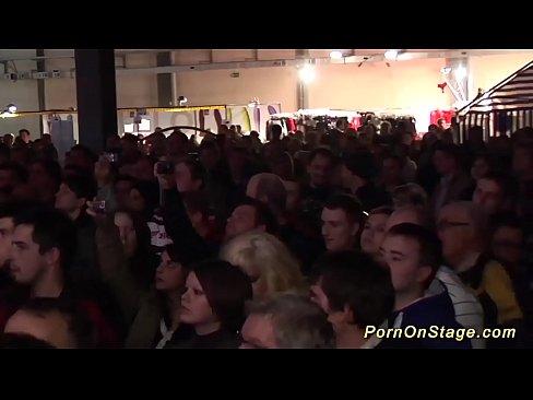 hot lesbian porn show on public stage