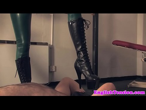 Femdom tramples slave after whipping's Thumb