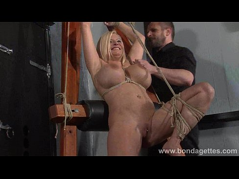 German rope slut Melanie Moons hogtied bondage and restrained busty submissive
