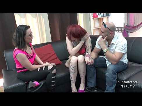 Casting couch of a french amateur couple with a pretty redhead emo slut