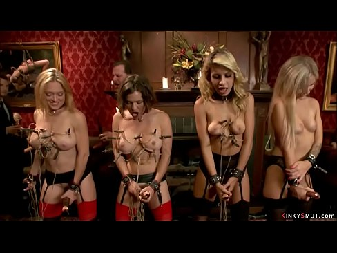 Pornstars and slaves on bdsm orgy party
