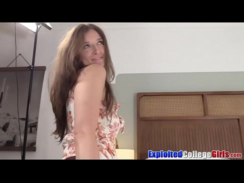 College amateur Kenzi pumped facial on camera first time