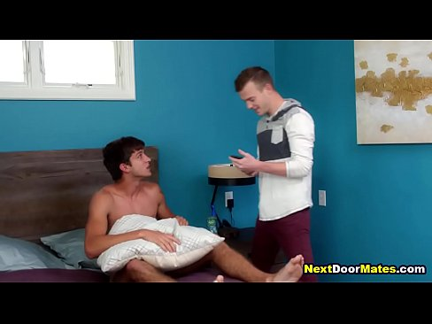 Step brother catches gay brother masturbating then fucks him