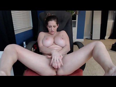 Busty White Woman Fucks Dildo and Sucks Tits - HornySlutCams.com