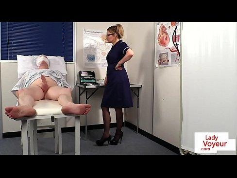 Bossy voyeur nurse instructs patient to wank