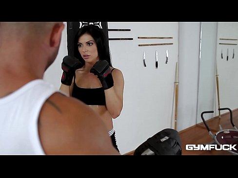 Gym fuck with long-haired stunner Inna Innaki makes trainer cum hard