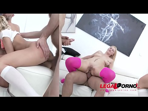 Tasty Blond Nymphos Emily Thorn & Venus Hills in anal orgy with Rough DP
