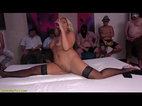massive cum over her big silicon Milf boobs