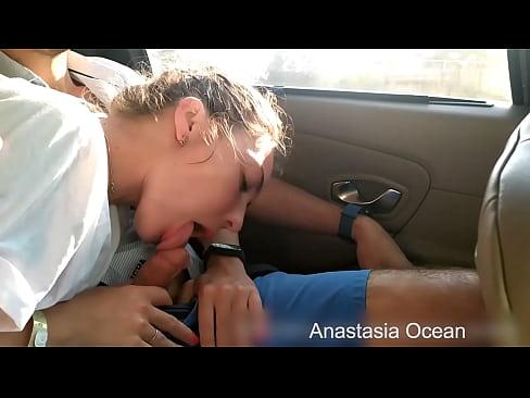 Sweet girl sucks dick in car on the road