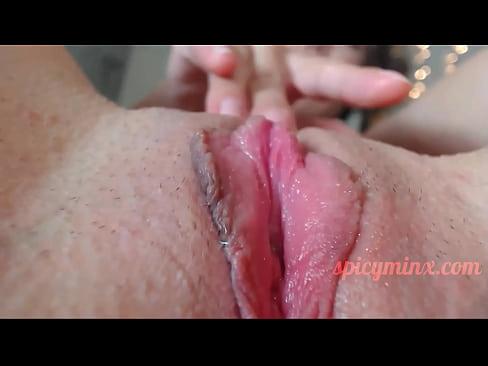 Hot Brunette, Wet Pussy Close-Up