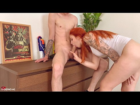Redhead Babe Passionate Fuck and Blowjob - Creampie