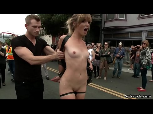 Blonde is anal fucked in public