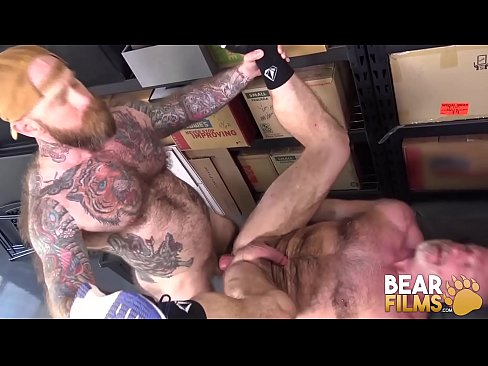 BEARFILMS Inked Bear Jake Dixon Breeds Hairy Hole At Work
