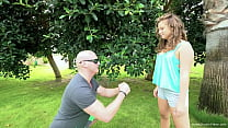 Tiny blonde gets fucked by her trainer outdoors